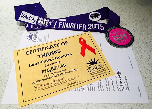 Bear-Patrol raise nearly £16,000 for Sussex Beacon