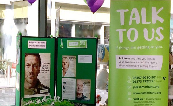 Samaritans volunteers in Brighton and Hove answered 61,796 calls for help last year