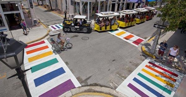 Key West install permanent rainbow pedestrian crossings