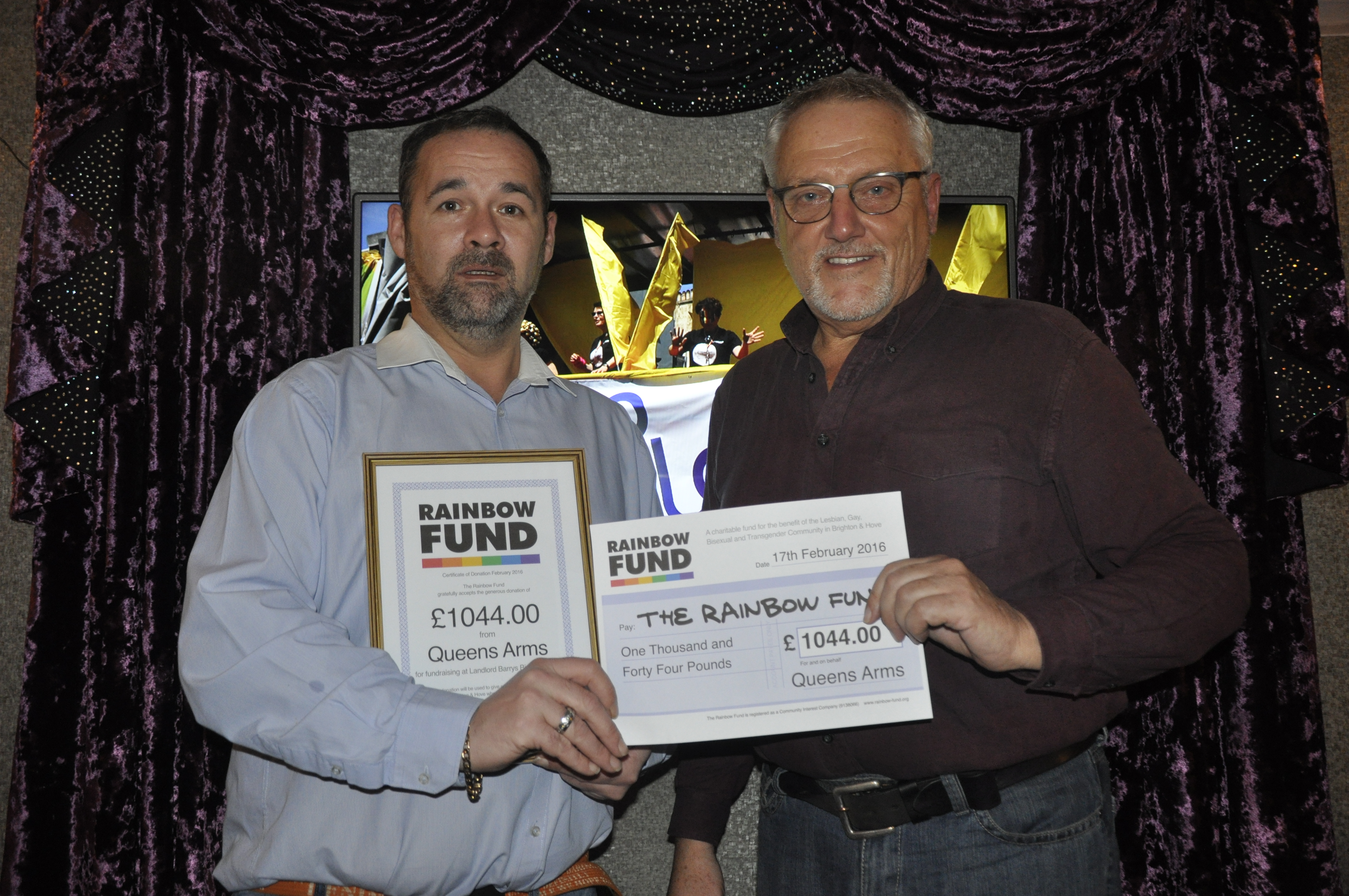 Queens Arms raises over £1,000 for Rainbow Fund