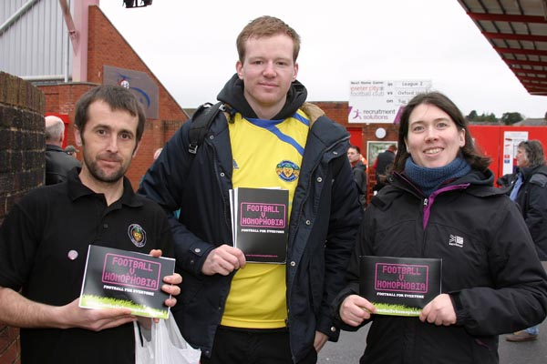 """Volunteers help Exeter City FC says """"no to homophobia"""""""