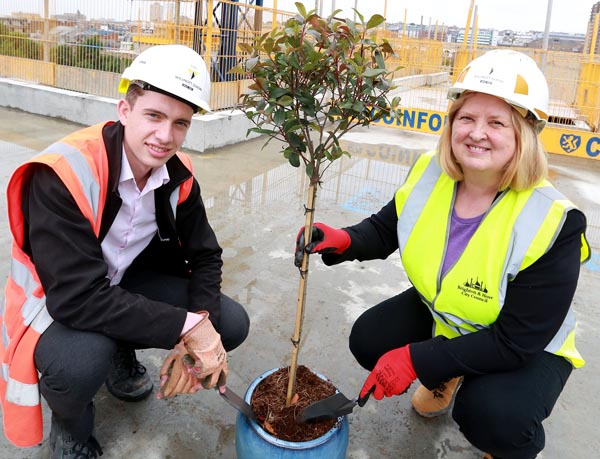 Topping out ceremony at new housing scheme