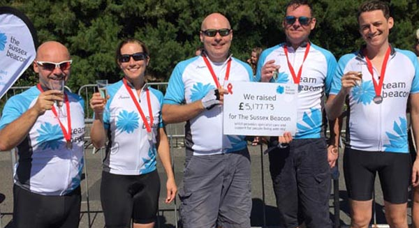 London to Brighton cycle team raises over £5k for Sussex Beacon