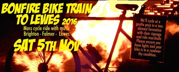 Join the Mayor and ride the 'Bonfire Bike Train' to Lewes