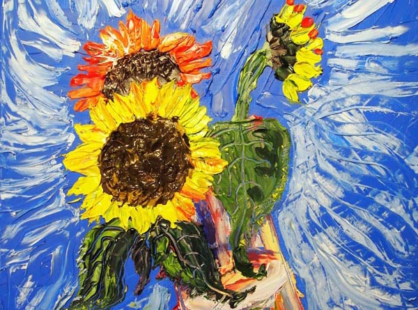 Artist paints 'Debbie the Sunflower' for disabled people's human rights group