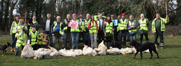 Volunteer litter pickers clean up the city