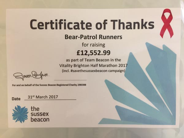 Bear-Patrol raise £12,552,99 for Sussex Beacon