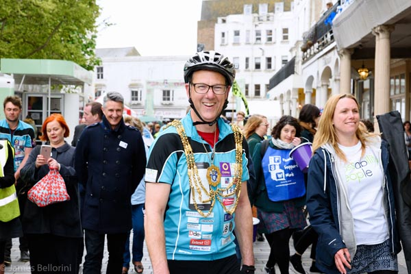 Mayor cycles from Paris to Brighton for his charities