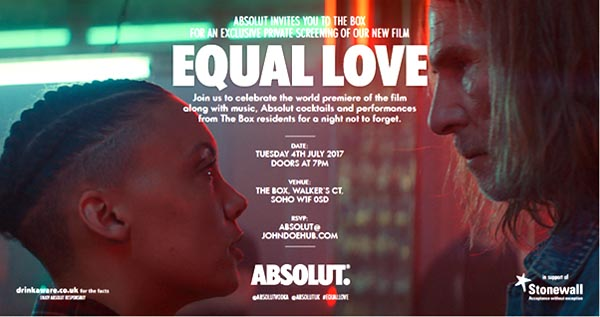 Absolut explores equality in 2017 with a short film titled 'Equal Love'
