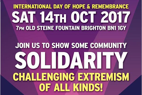 International Day of Hope and Remembrance – Brighton Vigil – this evening at 7pm
