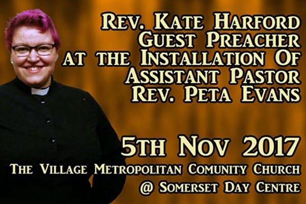Village MCC – guest preacher, Rev Kate Harford