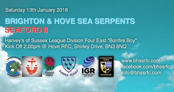 Sea Serpents RFC play Seaford II this Saturday