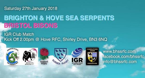 Sea Serpents RFC play Bristol Bisons tomorrow in Hove