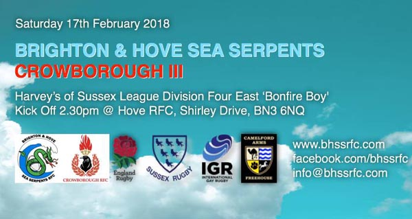 Sea Serpents RFC play Crowborough RFC 3rd XV on Saturday