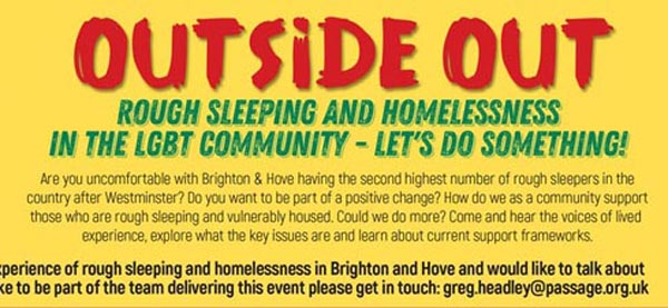 B RIGHT ON LGBT Community Festival: Outside Out: Rough Sleeping and Homelessness in the LGBT Community