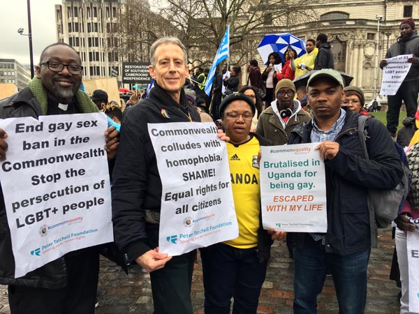 LGBT+ protest in front of Queen and Prime Minister
