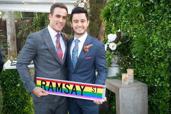 Neighbours make history with Australian TV's first same-sex wedding