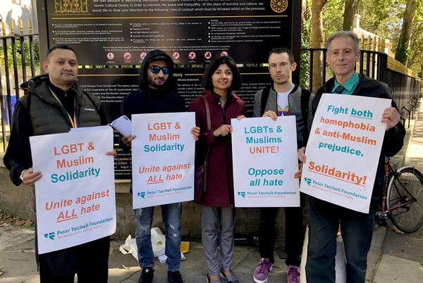 Tatchell and supporters challenge worshippers outside Regents Park mosque