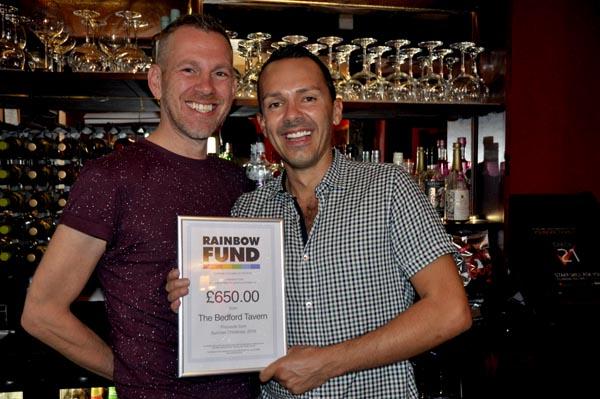 Bedford Tavern raise £650 for Rainbow Fund