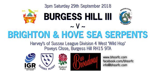 Sea Serpent RFC play Burgess Hill 3rds today