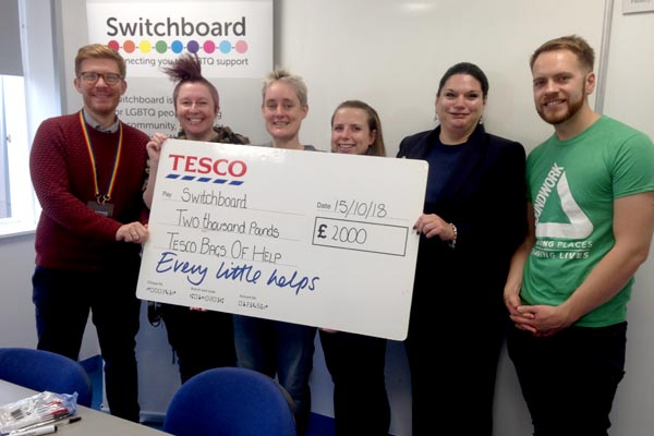 Switchboard bags £2,000 from Tesco's community grant scheme