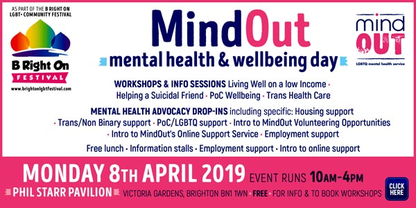 B RIGHT ON LGBT+ Community Festival: MindOut Mental Health and Wellbeing Day