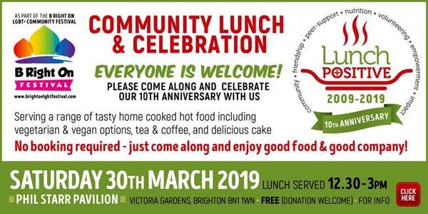 B RIGHT ON LGBT+ Community Festival: Lunch Positive Community Lunch & Celebration on Saturday