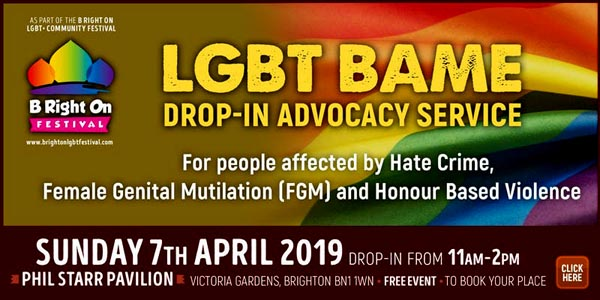 B RIGHT ON LGBT+ Community Festival: LGBT BAME Drop-In Advocacy Service