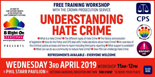 B RIGHT ON LGBT+ Community Festival: Understanding Hate Crime – with The Crown Prosecution Service