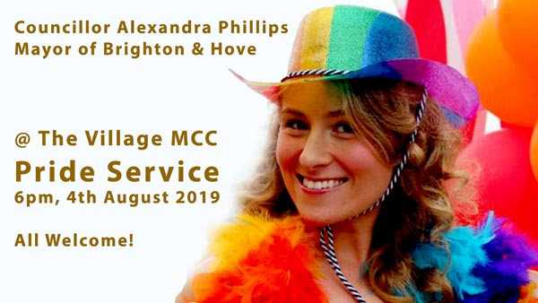 Mayor of Brighton and Hove to speak at the Village MCC Pride Service