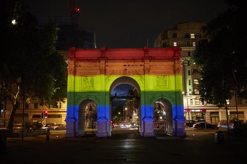 Marble Arch illuminated for London Pride