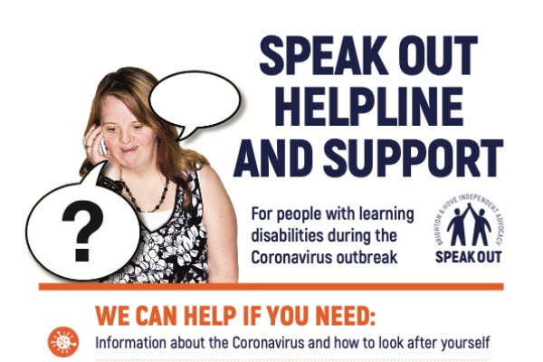 Brighton & Hove Speak Out continuing to support people with learning disabilities during Coronavirus emergency