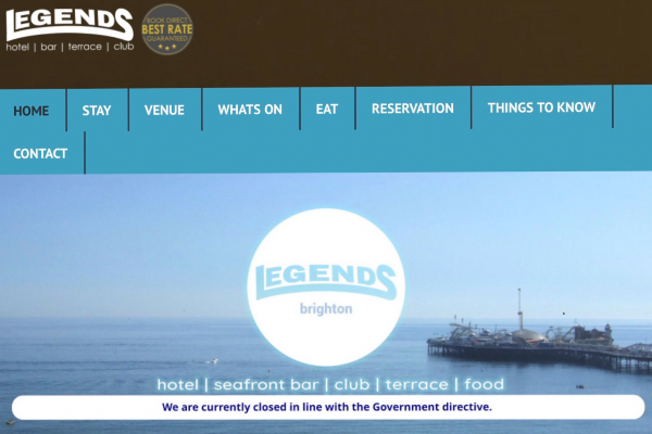 Legends Bar & Hotel closed and in liquidation