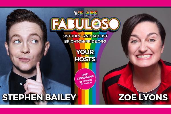 Stephen Bailey & Zoe Lyons to host Brighton & Hove Pride Online – We Are FABULOSO!