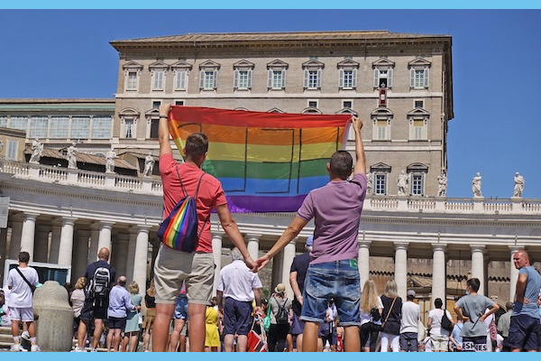Polish gay couple Jakub and David unfold Rainbow Flag at the Vatican