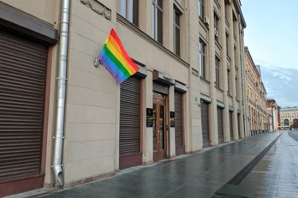 Four arrested after decorating Russian government buildings with rainbow flags
