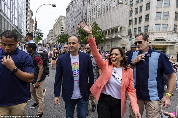 Kamala Harris becomes first vice-president to march at Pride