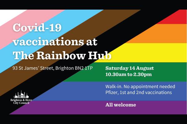 LGBTQ+ Vaccine Session at the Rainbow Hub Saturday