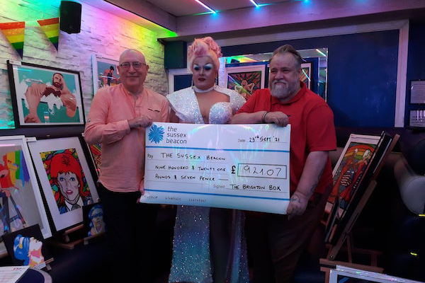 The Brighton Box, Affinity Bar Brighton and artist Sid Spencer raise over £900 for the Sussex Beacon
